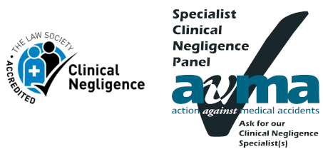 Law Society Clinical Negligence Accredited & Action Against Medical Accidents logo