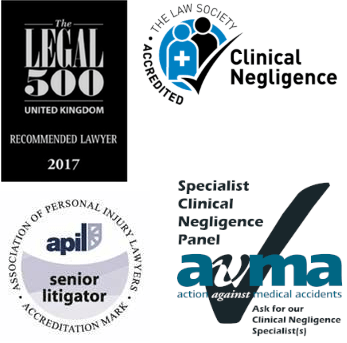 Legal 500, Law Society Clinical Accredited, APIL and Action against Medical Accidents logo