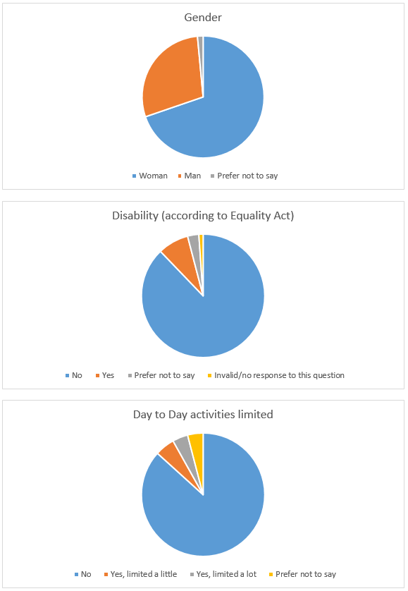 Diversity by gender, disability and day to day limited pie chart