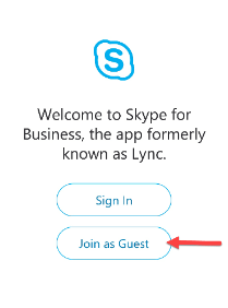 Join as Guest Skype for Business
