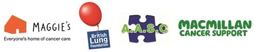 Charity Logos for Maggies, Bristol Lung Foundation, AASC and Macmillian Cancer Support