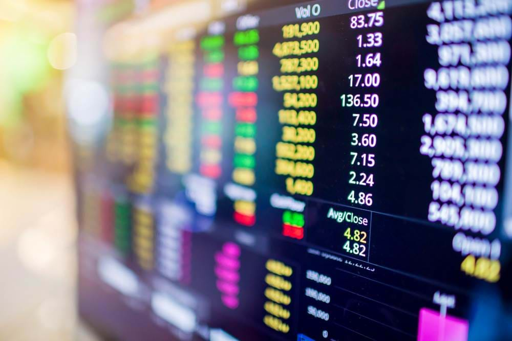 On screen display of stock market trading numbers