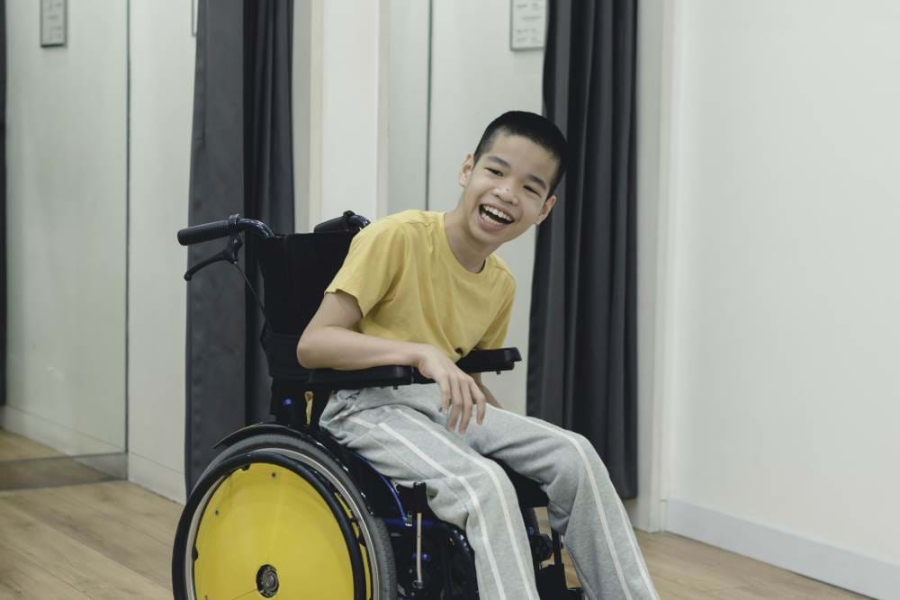 Young man with Cerebral Palsy